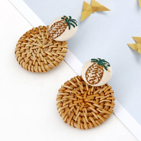 Gosfashion National Style Rattan Woven Flannel Earrings