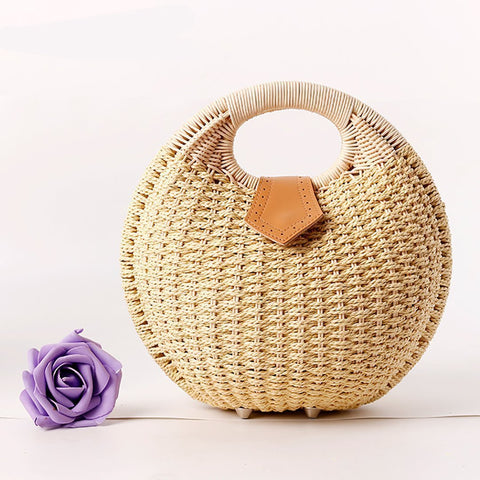 Gosfashion Women's Beach Tourism Retro Leisure Rattan Handbags