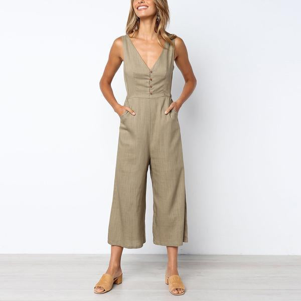 Gosfashion Sexy V-Neck Sleeveless Open Backless Jumpsuit