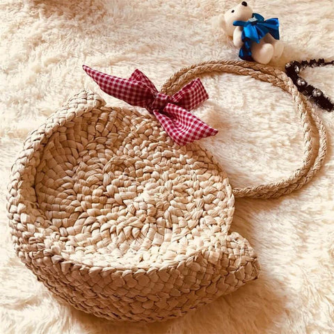 Gosfashion Holiday pastoral wind corn woven shoulder bag