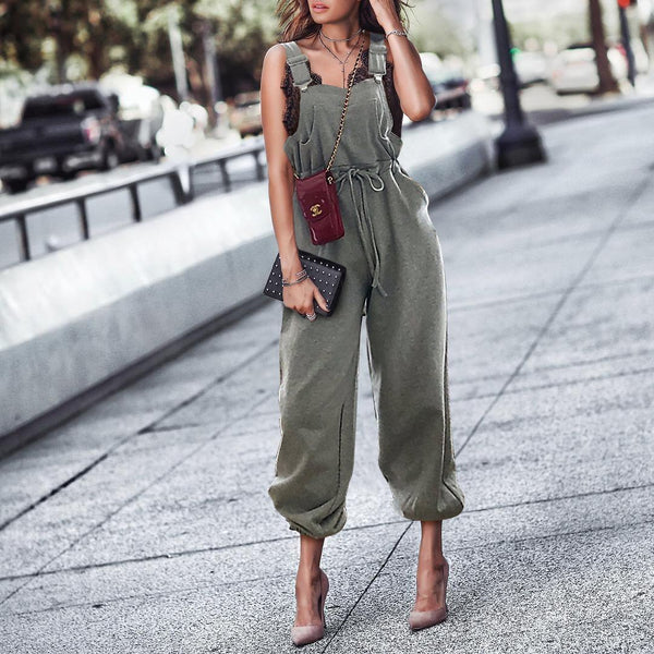 Gosfashion Fashion Pure Colour Sleeveless Belted Jumpsuits