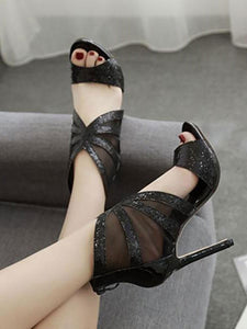Sexy Hollow Sequins Pure Color Slim High Heel  Sandals