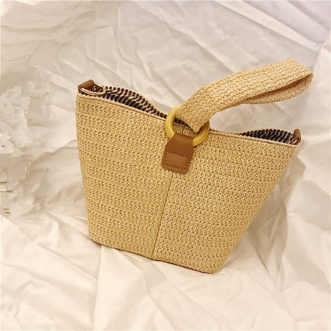Gosfashion Circle buckle cute braid basket hand straw braid square bag