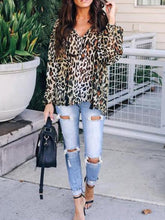 Load image into Gallery viewer, V Neck Lace Up Tassel Leopard Printed Long Sleeve Fashion Blouses
