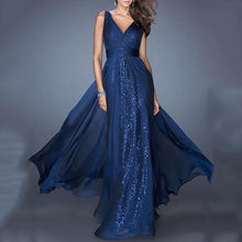 Load image into Gallery viewer, V-Neck Backless Waist Mesh Evening Dress