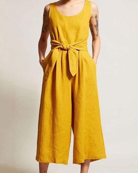Gosfashion Open Back V-Neck Linen Casual Sexy Jumpsuit