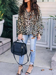 V Neck Lace Up Tassel Leopard Printed Long Sleeve Fashion Blouses