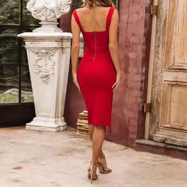 Gosfashion Sexy Open Shoulder Plain Tight Bodycon Dress
