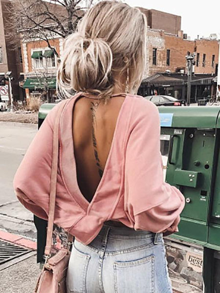 Gosfashion Sexy Backless Oversize Bat Sleeve Blouse