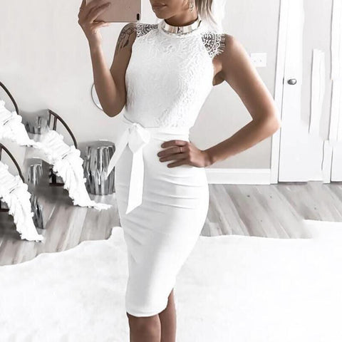 Gosfashion Lace Sleeveless Sexy Bodycon Dress