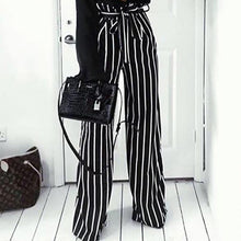 Load image into Gallery viewer, Fashion Stripe Wide Leg Belt Pants