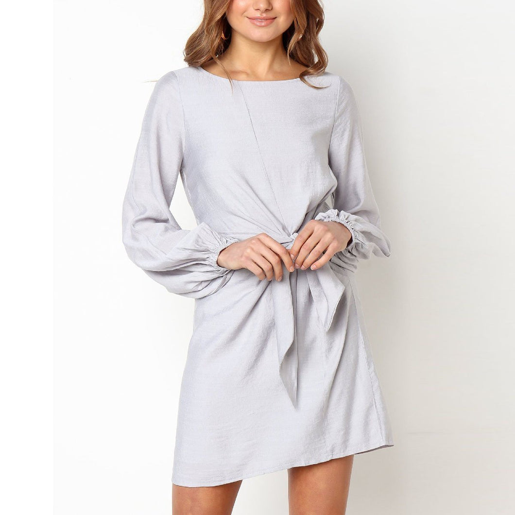 Solid Color Round Neck Mini Dress