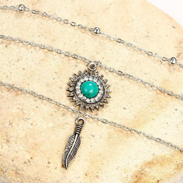 Gosfashion Vintage Bohemian Turquoise Sun Flower Leaves With Multi-Layer Necklace