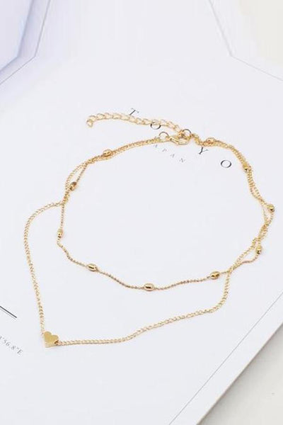 Gosfashion Simple Hearts Copper Multilayer Clavicle Necklace