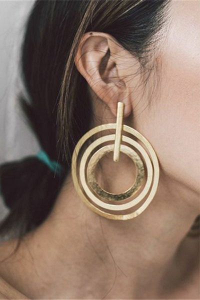 Gosfashion Personality Trend Women's 3 Circle Earrings