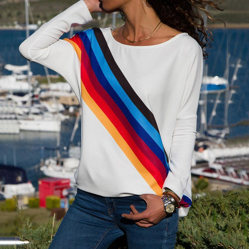 Casual rainbow stripe printed long sleeve T-shirt