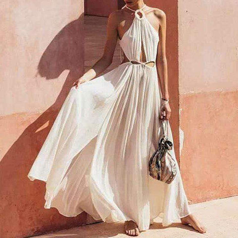 Gosfashion Elegant Belted Bare Back Off-Shoulder Maxi Dress