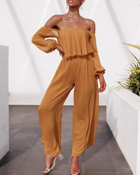 Gosfashion Off-The-Shoulder Lantern Sleeves Wide-Leg Pants Chiffon Jumpsuit