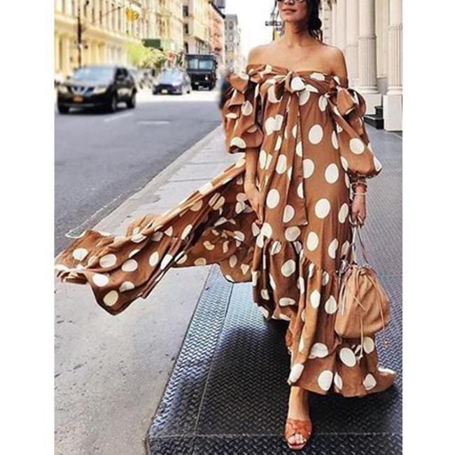 Gosfashion Fashion Off The Shoulder Polka Dot Print Maxi Dress