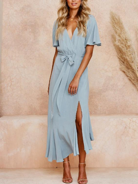 Gosfashion Sexy V-Neck Laced Bow Midi Dress