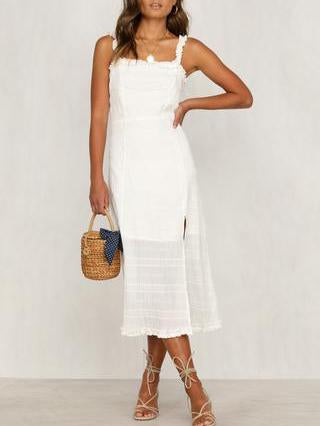 Gosfashion Solid Color Sling With Wooden Eared Split Dress