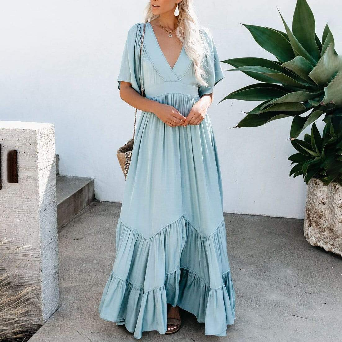Gosfashion Solid Color Deep V-Neck Stitching Ruffled Maxi Dress