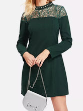 Load image into Gallery viewer, Fashion Lace Long Sleeve Mini Dress
