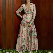 Load image into Gallery viewer, Flash Sale Sexy Deep V Collar Floral Printed Pagoda Sleeve Maxi Dress