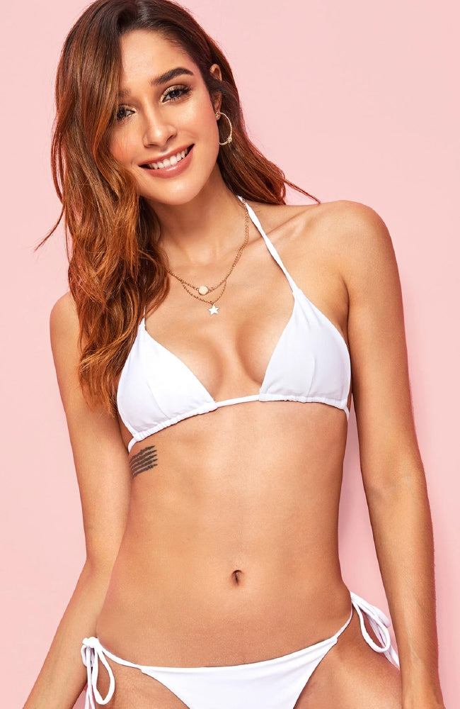 Uma Halter Triangle Swimming Top in White