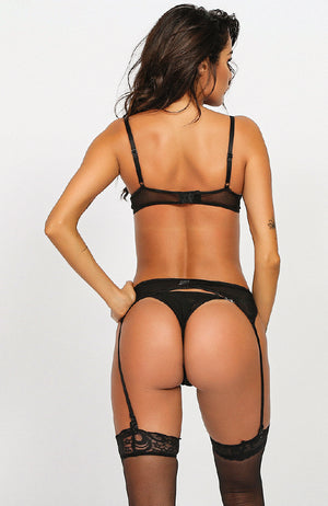 Robyn Push Up Lace Chain Suspender 3 Piece Set in Black