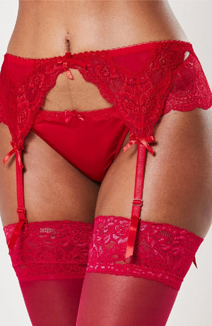 Ruth Red Lace Bow Suspender Belt