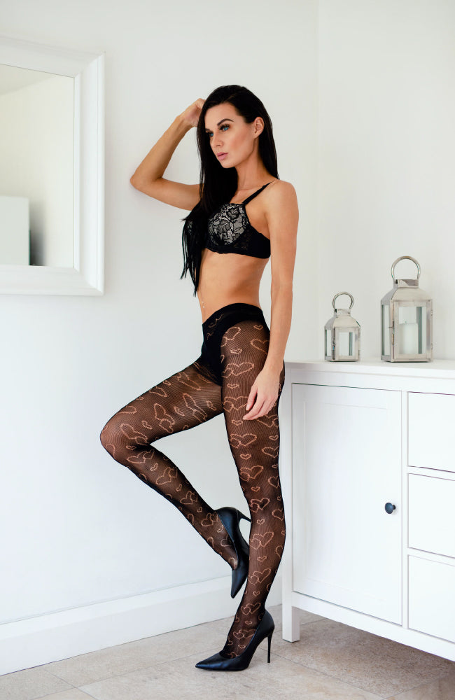 Heart Black Patterned Tights