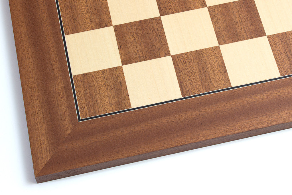 "Mahogany and Maple Chess Board - 1.96"" Squares"