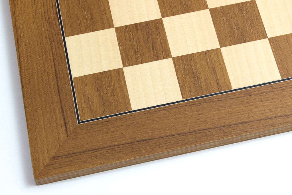 "Teak and Maple Chess Board - 1.96"" Squares"