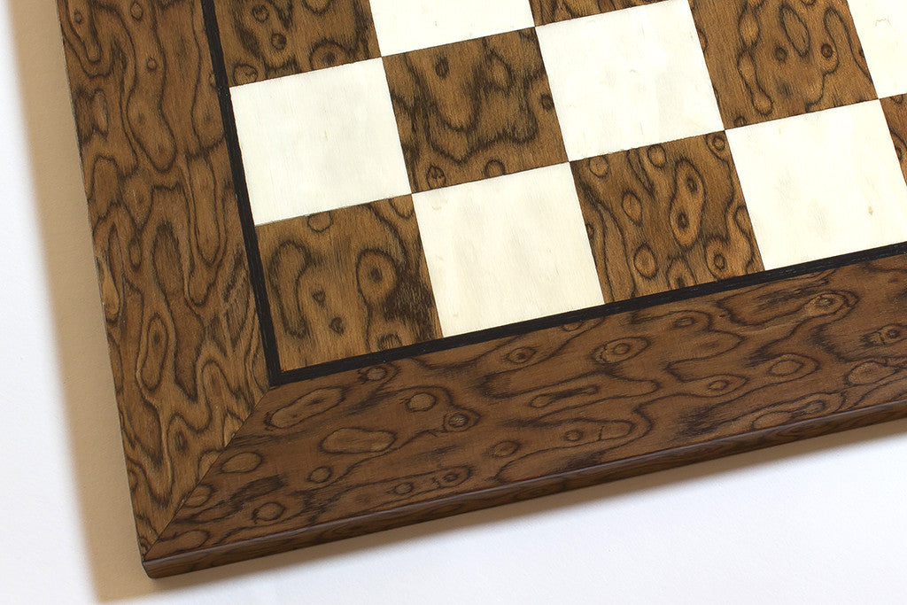 "Brown Ash Burl and Maple Chess Board - 1.57"" Squares"