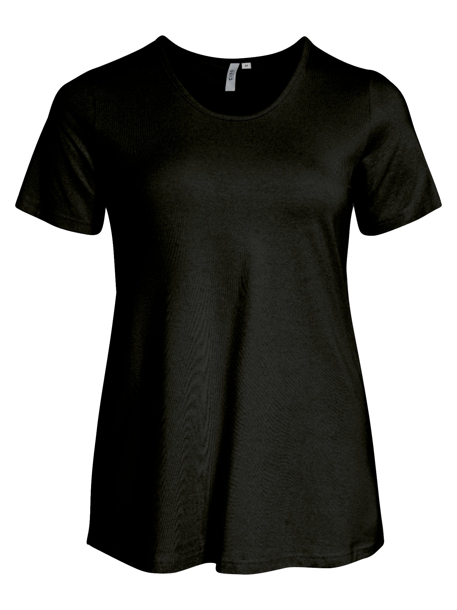 Image of   Basis T-shirt i A-facon med korte ærmer - Black