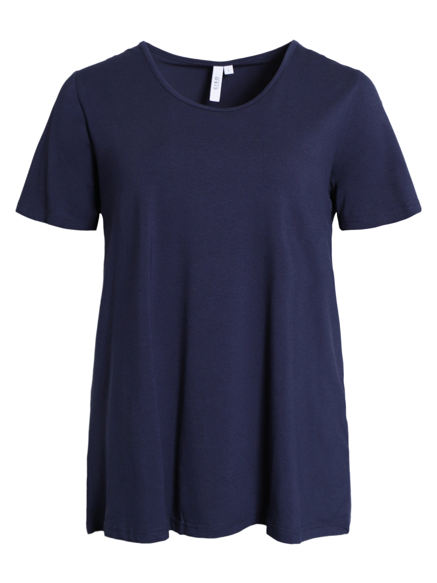 Image of   Basis T-shirt i A-facon med korte ærmer - Navy
