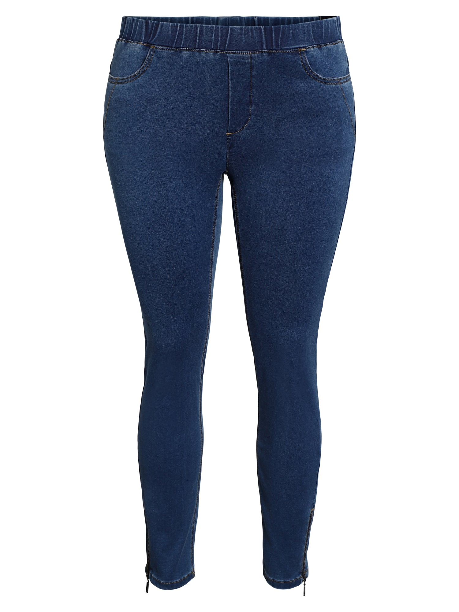 Image of   7/8 bukser med elastisk talje. Slim fit. - Denim Blue