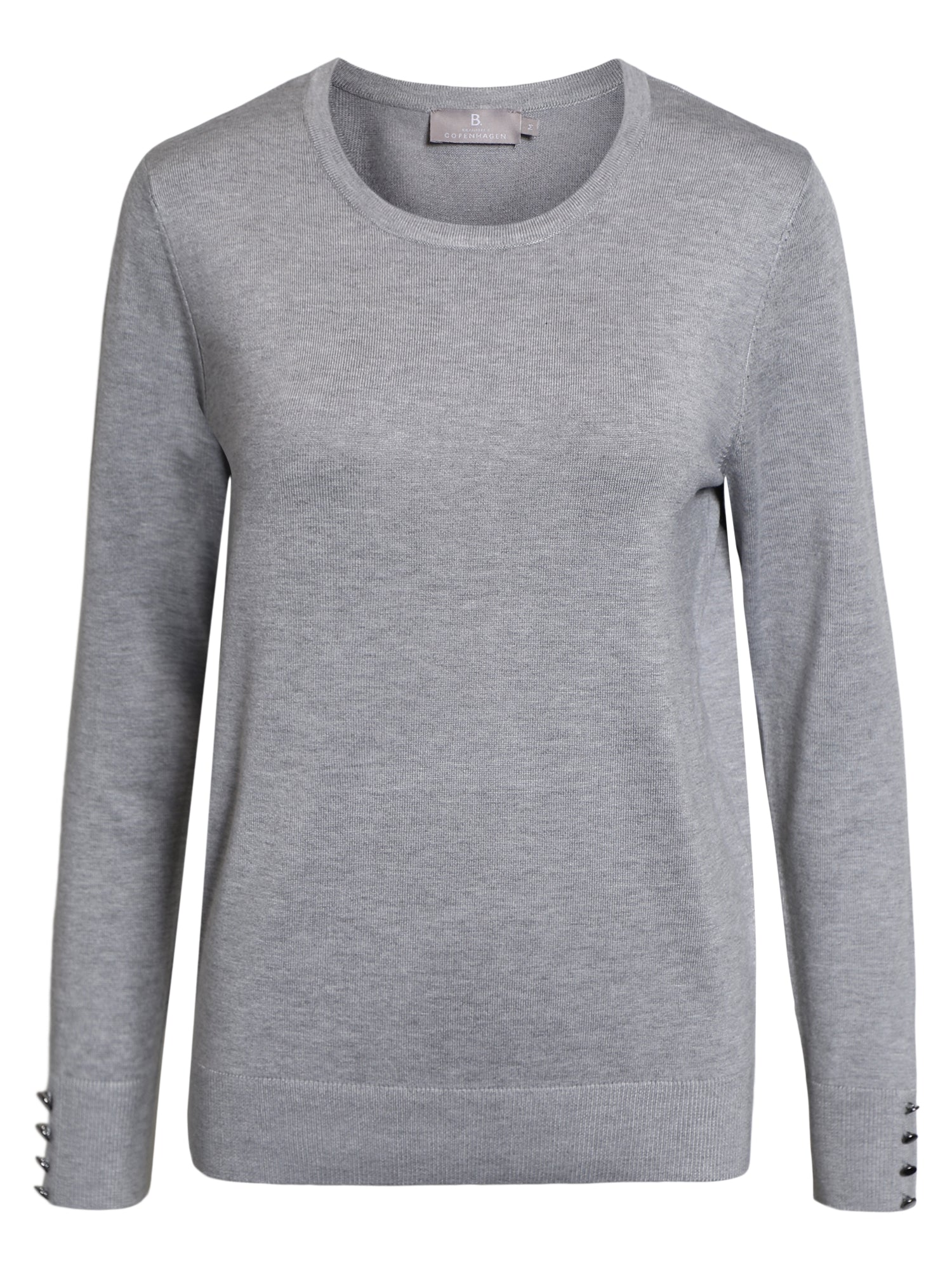 Image of   Pullover med O-hals - Light Grey Melange