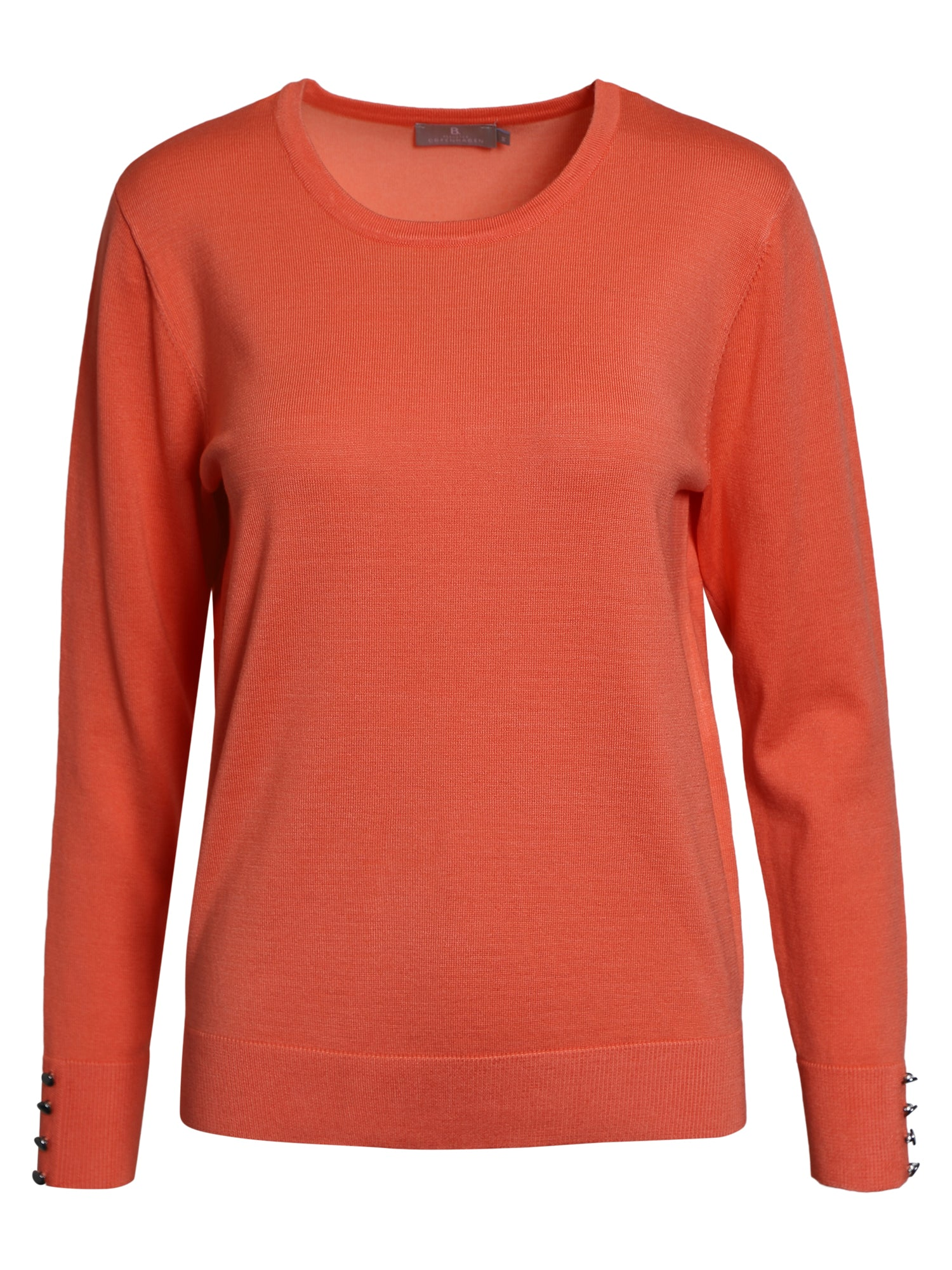 Image of   Pullover med O-hals - Living Coral