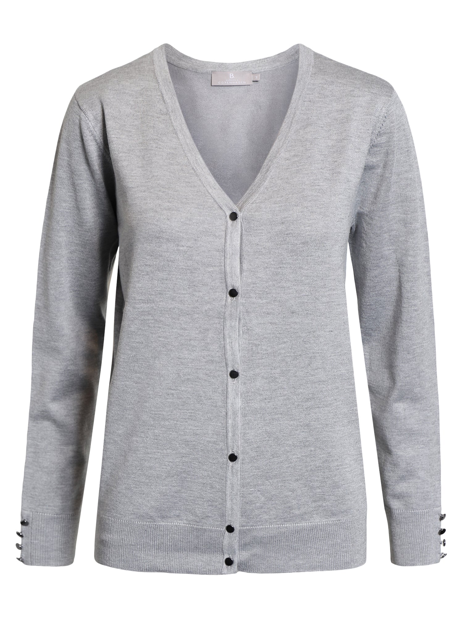 Image of   Cardigan med V-halsudskæring - Light Grey Melange
