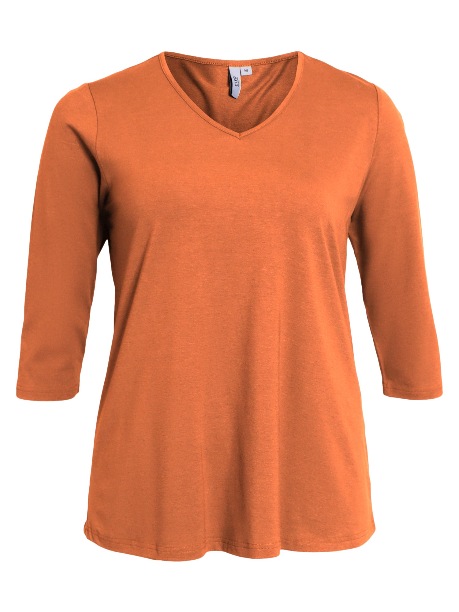 Image of   Basis T-shirt i A-facon med 3/4 ærmer - Jaffa orange