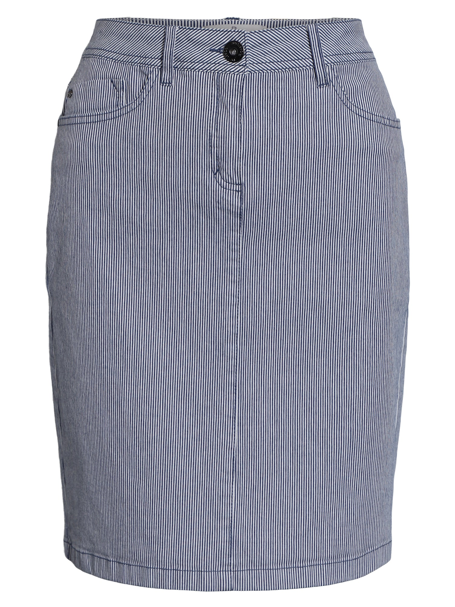 Image of   Stribet nederdel - Denim light blue