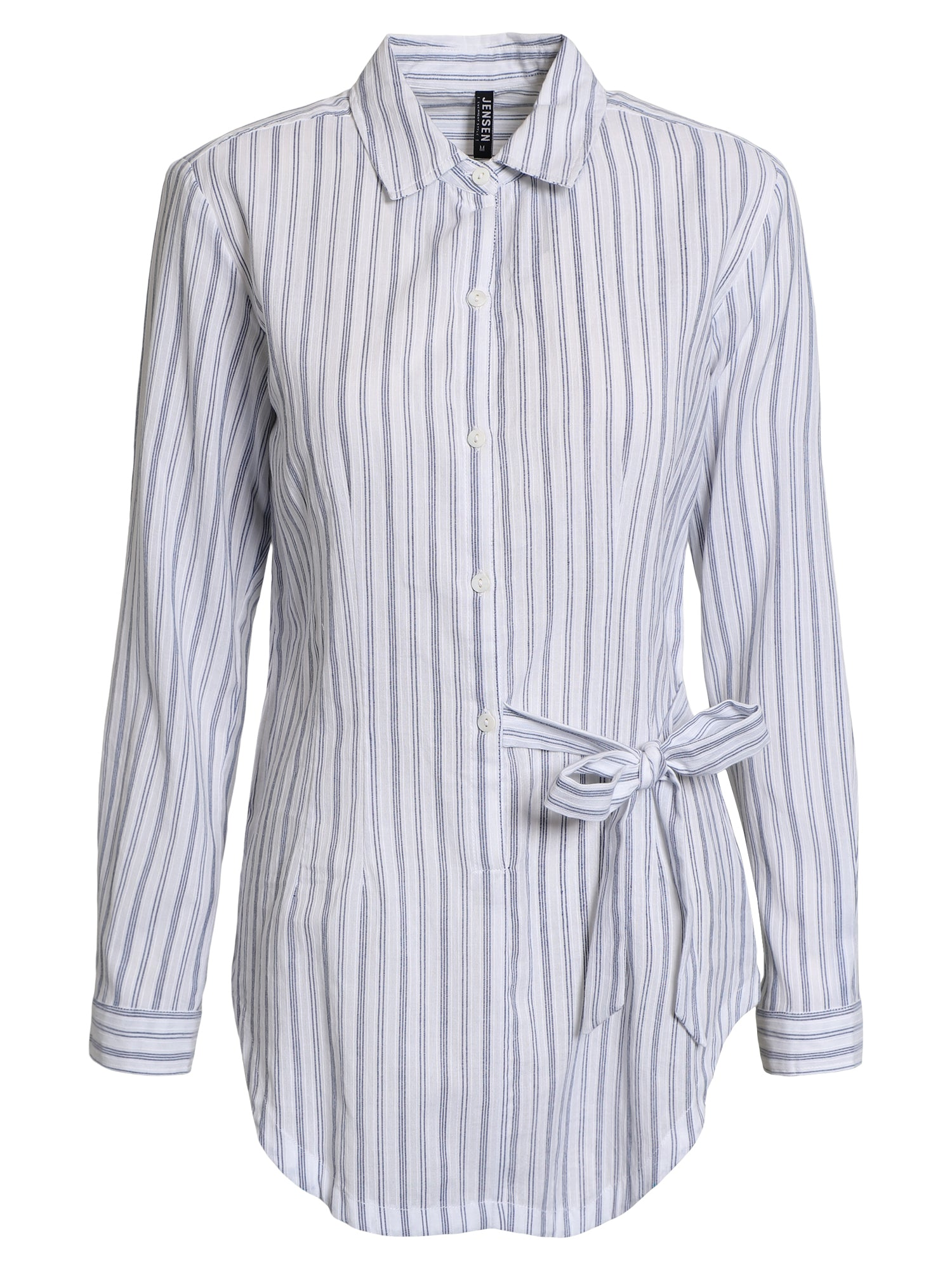 Image of   Bluse, langærmet - Offwhite mix stripe