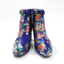 Load image into Gallery viewer, NON TOKYO / JACQUARD HEEL BOOTS / NAVY