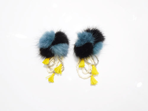 FUR×BEADS EARRING / BLUE
