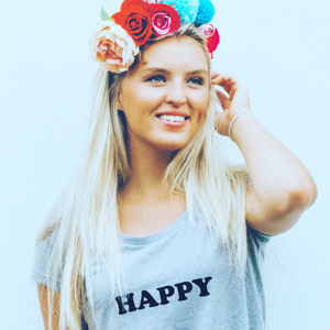100% Organic Cotton 'Happy' Women's Tee