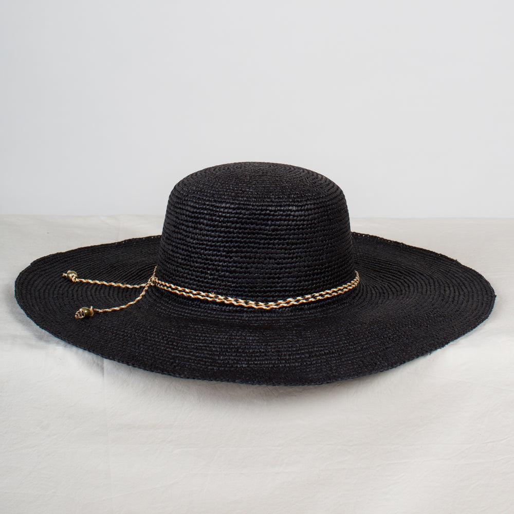 SENSI STUDIO Black Crochet Wide Brim Sunhat