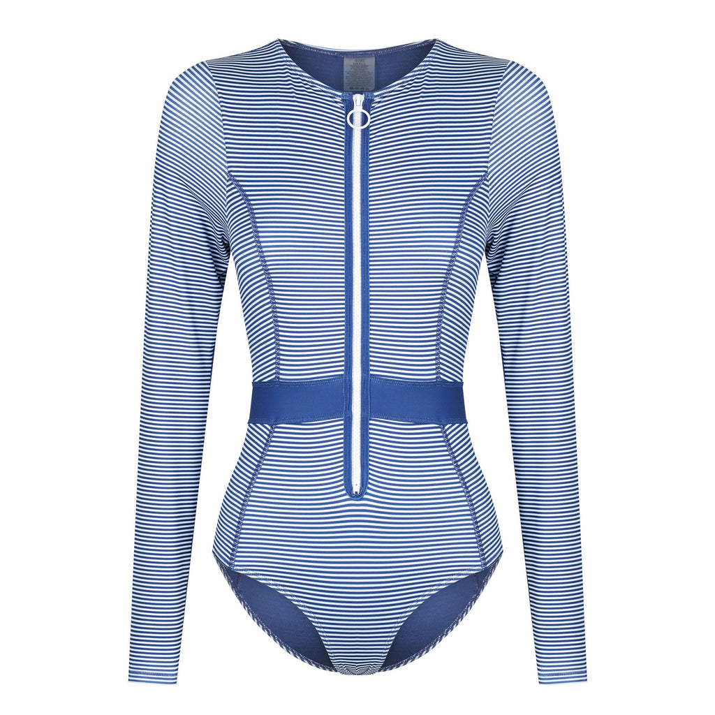 DUSKII Gigi Long-Sleeved Swimsuit in Blueberry Stripe