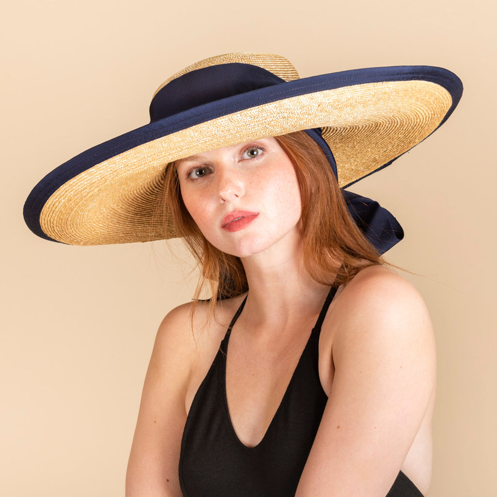 KOKIN NEW YORK Straw Sun Bonnet with Navy Ribbon